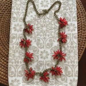 BAUBLEBAR Unique Red Stone & Brass Leaf Necklace